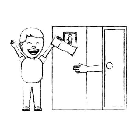 man jokes to the friend removing toilet paper from the bathroom april fools day vector illustration sketch image