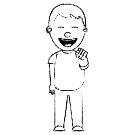 smiling boy laughing and pointing finger vector illustration sketch image