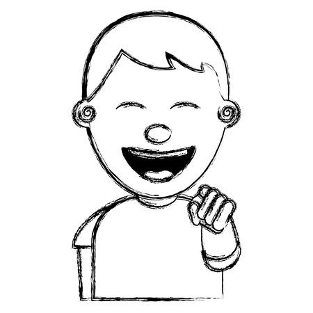 Portrait de sourire jeune adolescent garçon souriant pointant avec le doigt image vectorielle esquisse Banque d'images - 97006299