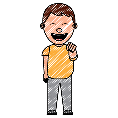 smiling boy bullying someone and pointing finger vector illustration drawing image Иллюстрация