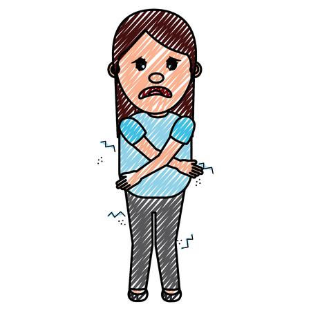 Une femme se sentir pour une illustration vectorielle de dessin animé de l & # 39 ; imagination Banque d'images - 97030742