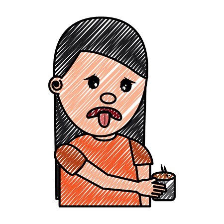 portrait young woman holding in hand beverage unpleasant vector illustration drawing image Archivio Fotografico - 97006303
