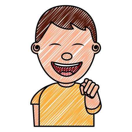 Portrait de sourire jeune adolescent garçon souriant pointant avec le doigt image vectorielle dessin Banque d'images - 97006304