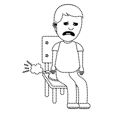 A sad man sitting in chair with whoopee cushion fools day dotted line image