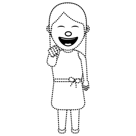 A funny woman smiling and making a gesture pointing vector illustration dotted line image
