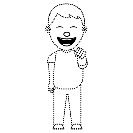 A smiling boy bullying someone and pointing finger vector illustration dotted line image