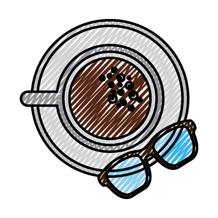 A coffee cup in dish and glasses top view vector illustration drawing color image