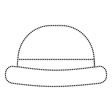Vintage hipster hat men accessory vector illustration dotted line image.
