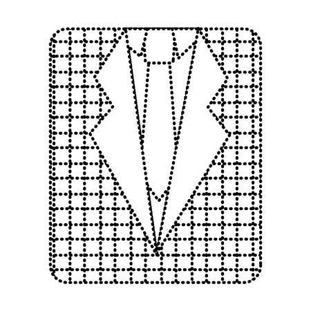 レトロなチェッカーシャツとネクタイファッションベクターイラスト点線画像