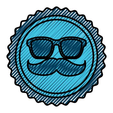 A vintage label mustache glasses hipster vector illustration drawing color image