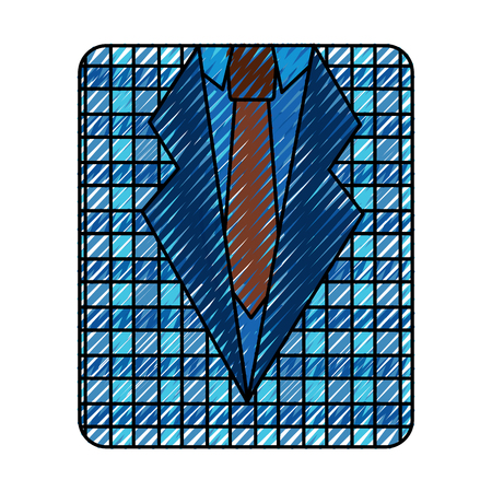 A retro checkered shirt and necktie fashion vector illustration drawing color image Illustration