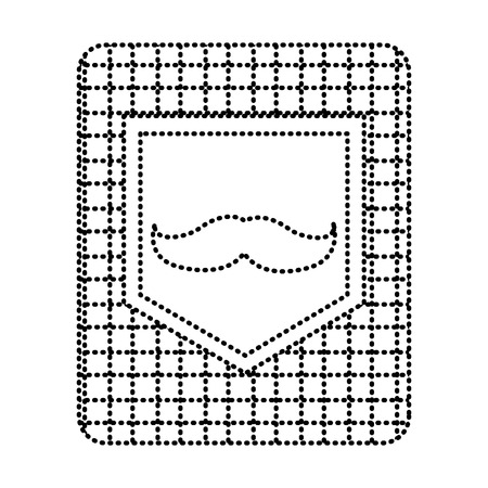 Pocket on checkered cloth with mustache vintage design, vector illustration dotted line image. Иллюстрация