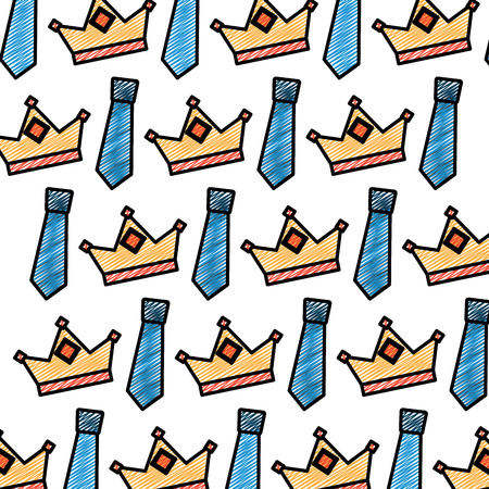 A crown and necktie accessory decoration wallpaper vector illustration drawing color image