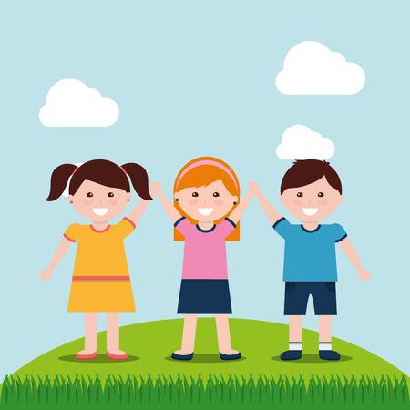 Kids smiling holding hands raising in field vector illustration.