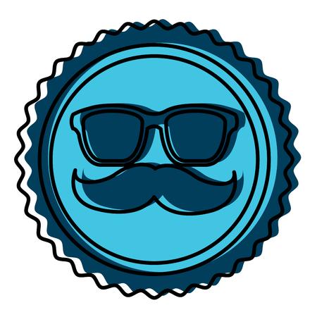 A vintage label mustache glasses hipster vector illustration
