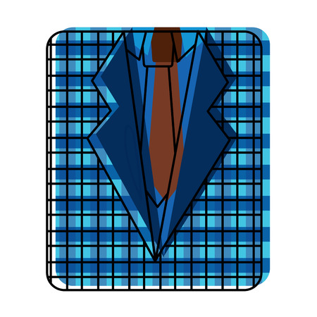 Retro checkered shirt and necktie fashion vector illustration.