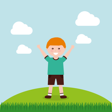 A happy cartoon boy raising hands vector illustration