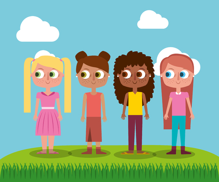 Group girl teenager character standing in field vector illustration.