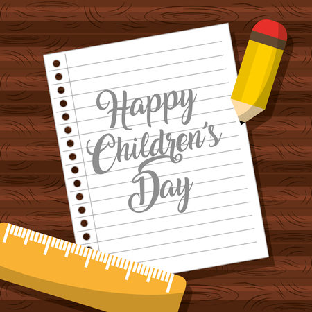 Happy childrens day note on a paper illustration Stock Illustratie