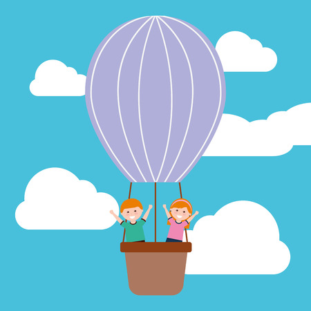 Funny cute happy boy and girl flying in air balloon adventure vector illustration. Illustration