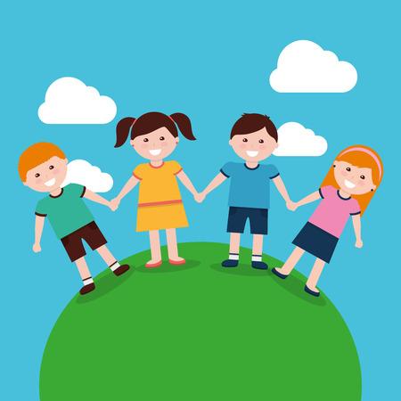 A cute kids holding hands in landscape vector illustration