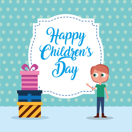 A happy children day boy and gift boxes card vector illustration Illustration
