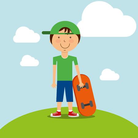 フィールドベクターイラストでスケートボードを持つ面白い小さな男の子。  イラスト・ベクター素材