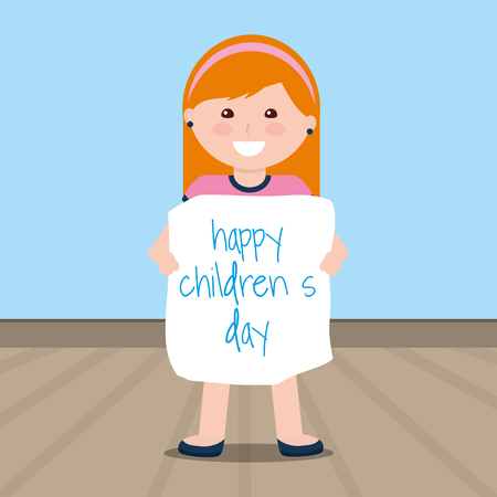 Cute little girl holding childrens day placard vector illustration.