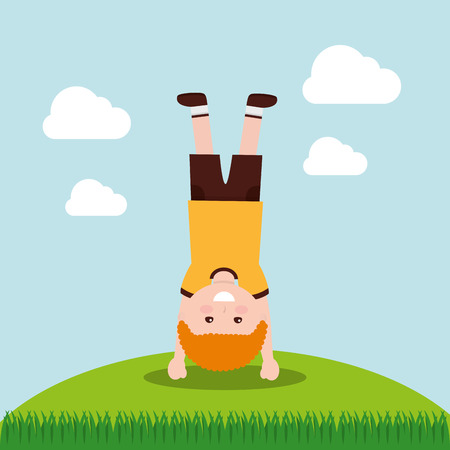 A child standing on his hands in grass vector illustration Illustration