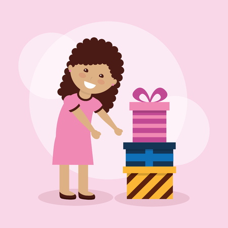 Cute happy young girl with gift boxes vector illustration. Ilustracja