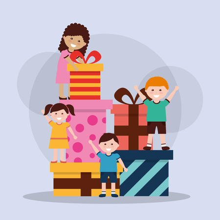 Cheerful children and pile gift boxes vector illustration Illustration