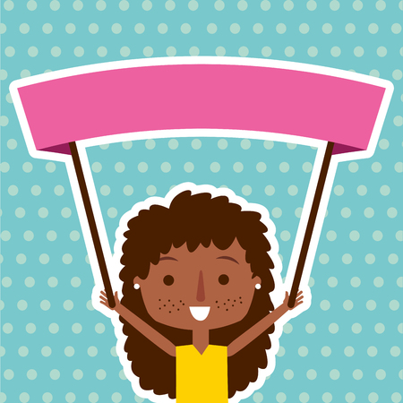 AN afro american cute girl holding placard vector illustration