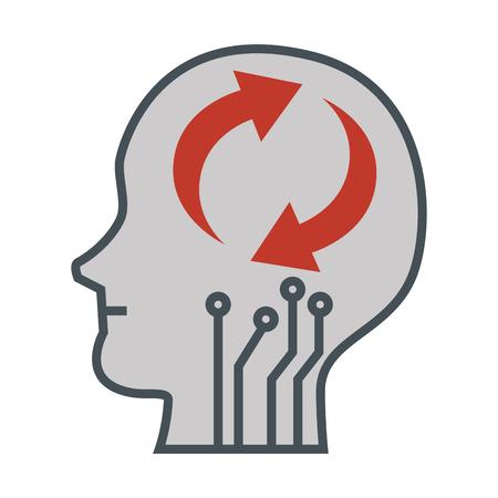 head profile with arrows reload vector illustration design