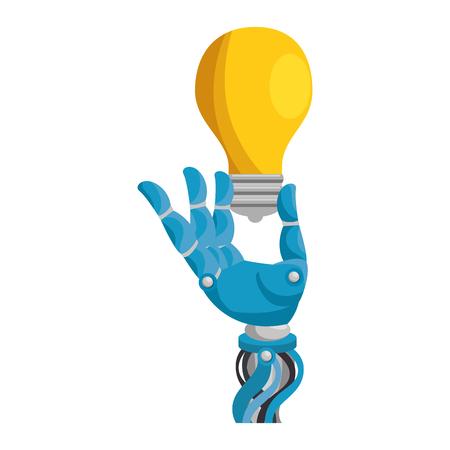 robot hand humanoid with bulb vector illustration design