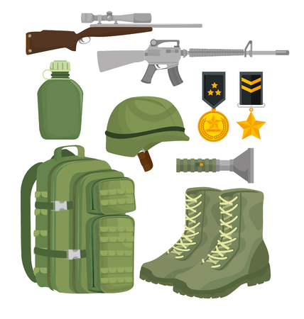 soldier war equipment icons vector illustration design