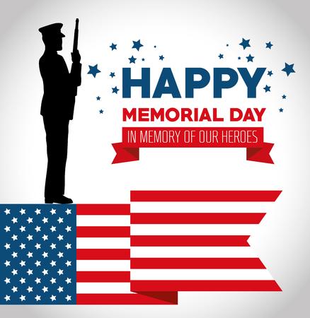 兵士シルエットベクトルイラストデザインと幸せな記念日カード  イラスト・ベクター素材
