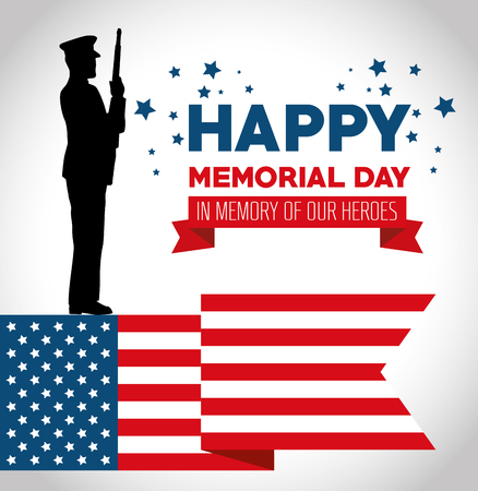 happy memorial day card with soldier silhuette vector illustration design