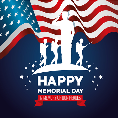 Happy memorial day card with soldier silhouette vector illustration design