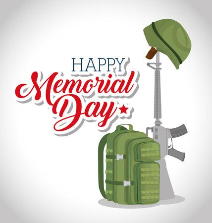 Memorial day card with rifle war vector illustration design Stock Vector - 97024841