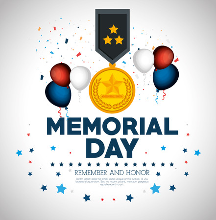 Happy memorial day card with medal vector illustration design Illustration