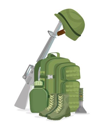 Soldier war equipment icons vector illustration design Ilustração