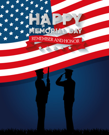 Happy memorial day card with soldier silhouette vector illustration design Stock Vector - 97024847