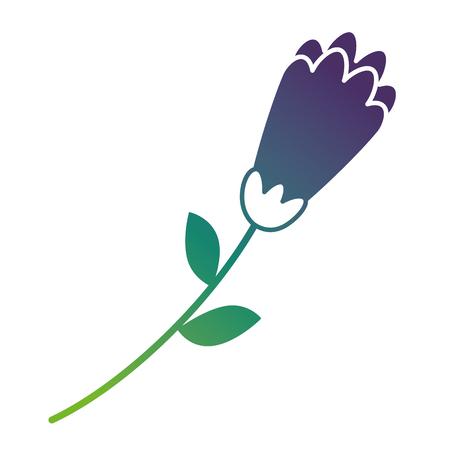 flower stem leaves nature petals decoration vector illustration gradient color design