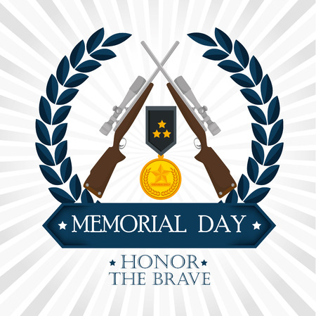 happy memorial day card with medal vector illustration design