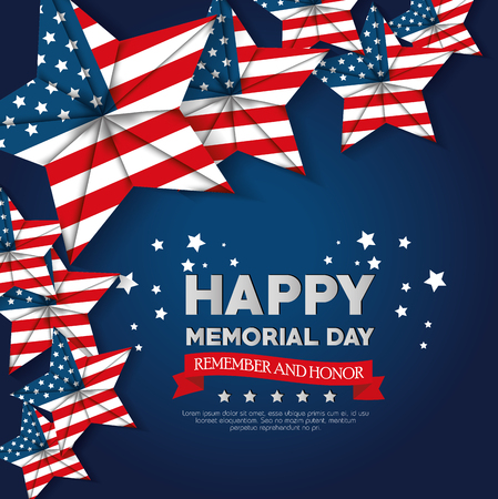 happy memorial day with stars vector illustration design