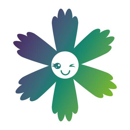 Cute flower cartoon vector illustration in gradient color design. Stock Illustratie