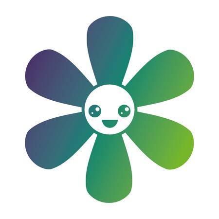 Flower cartoon botanical icon vector illustration gradient color design
