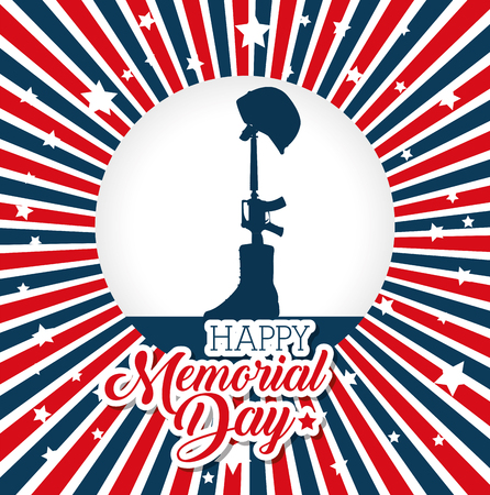A memorial day card with rifle war vector illustration design
