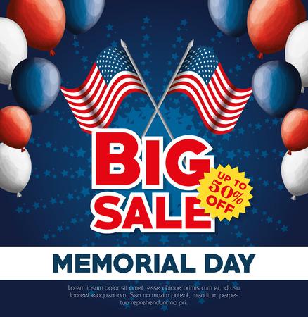 Big sale commercial label for memorial day vector illustration design