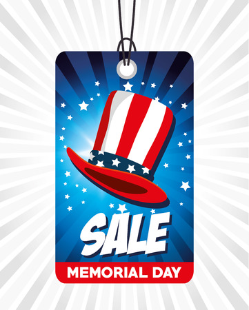 A big sale commercial label for memorial day vector illustration design